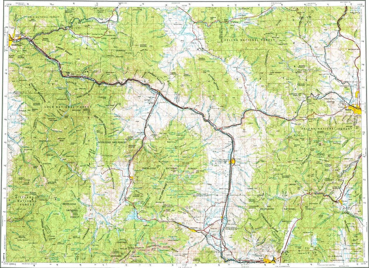 Download topographic map in area of Helena Anaconda Helena Valley