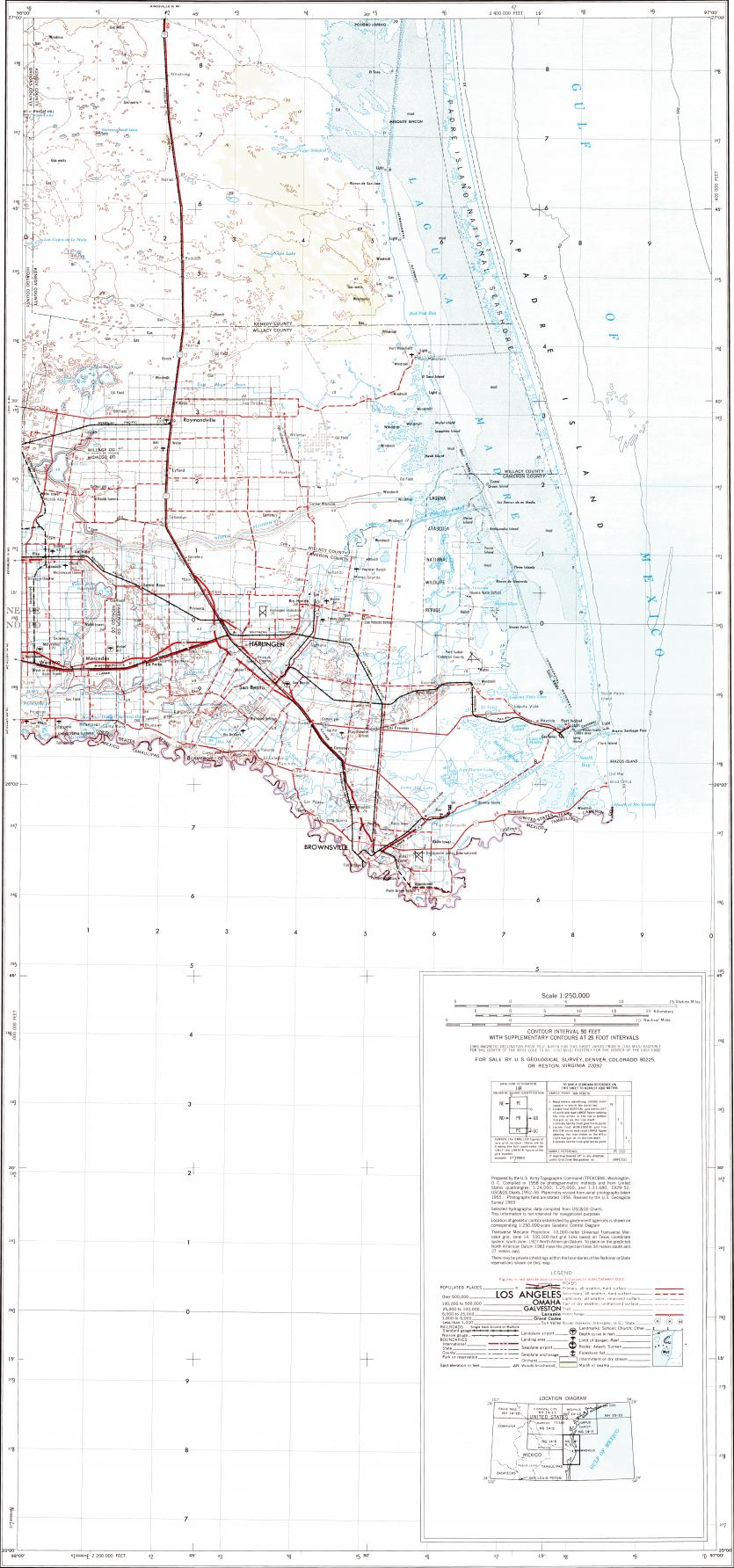 Download topographic map in area of Matamoros, Brownsville, San ...