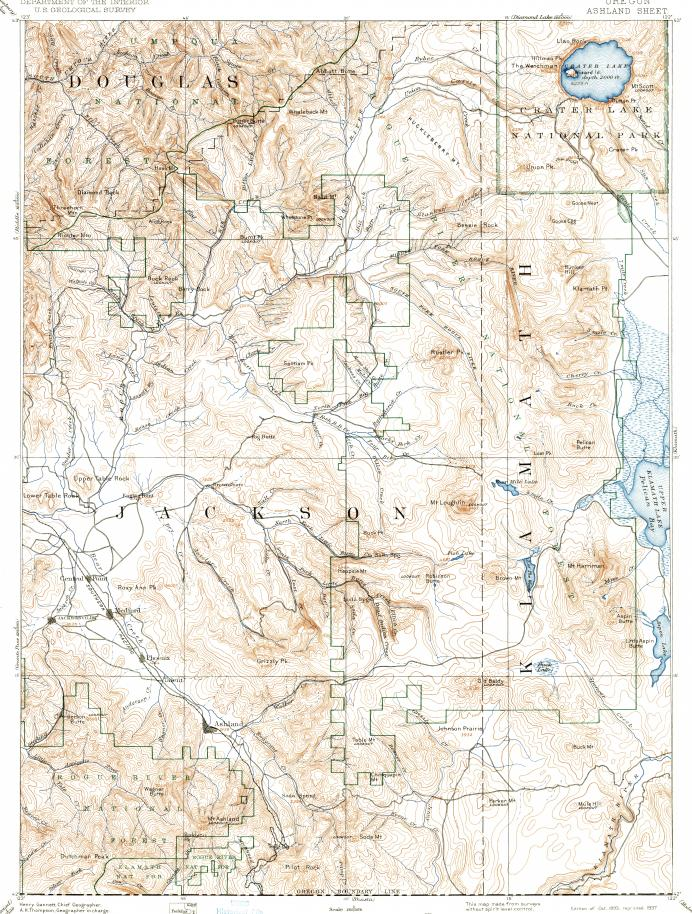 Crater Lake Topographic Map.Download Topographic Map In Area Of Medford Ashland Central Point