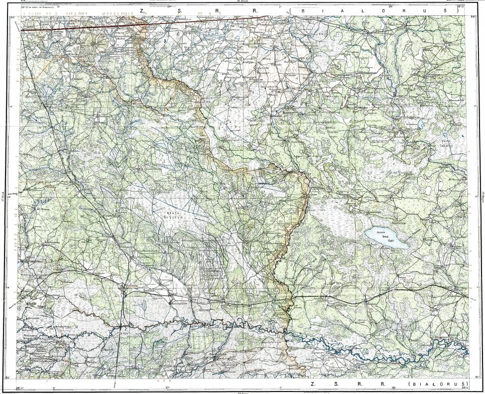 Download topographic map in area of Soligorsk Zhitkovichi Luninets