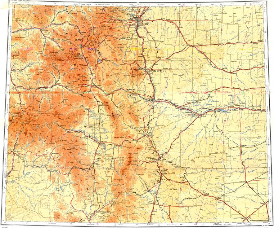 Topographic Map Colorado Springs.Download Topographic Map In Area Of Denver Colorado Springs Aurora