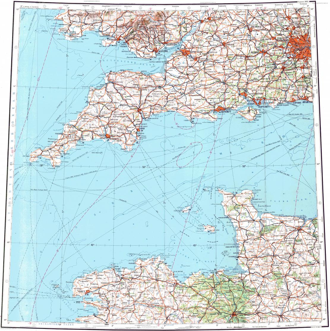 Download topographic map in area of London Cardiff Portsmouth