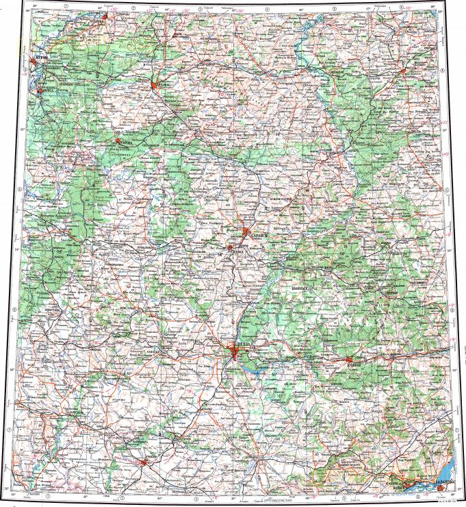 Download Topographic Map In Area Of Penza Saransk Murom - Saransk map