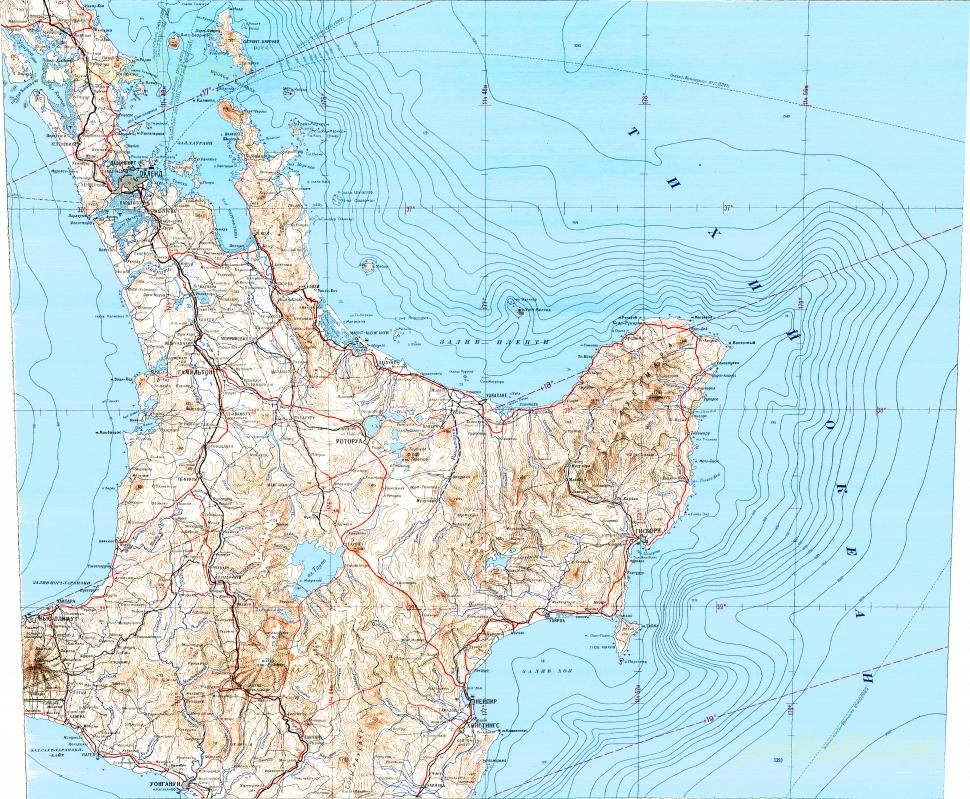 Download topographic map in area of Auckland Hamilton Napier