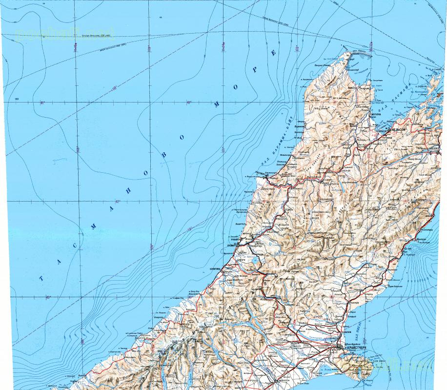 Download topographic map in area of Christchurch Blenheim Nelson
