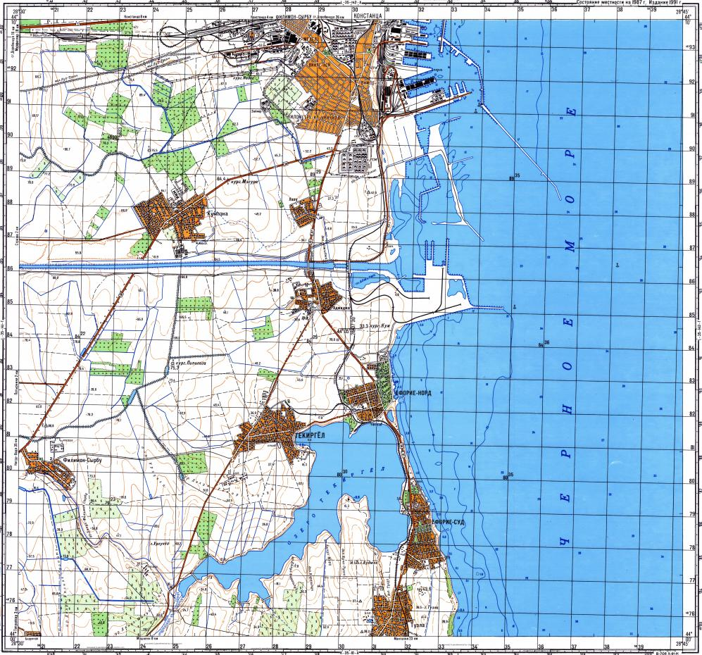 Download topographic map in area of Constanta Agigea mapstorcom