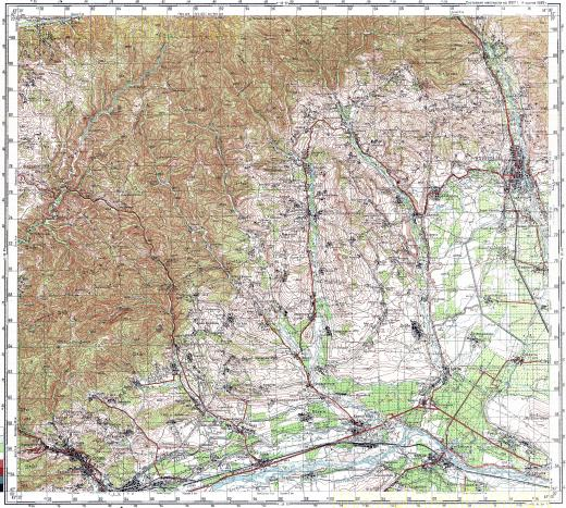 Download topographic map in area of Tskhinvali Surami Kareli