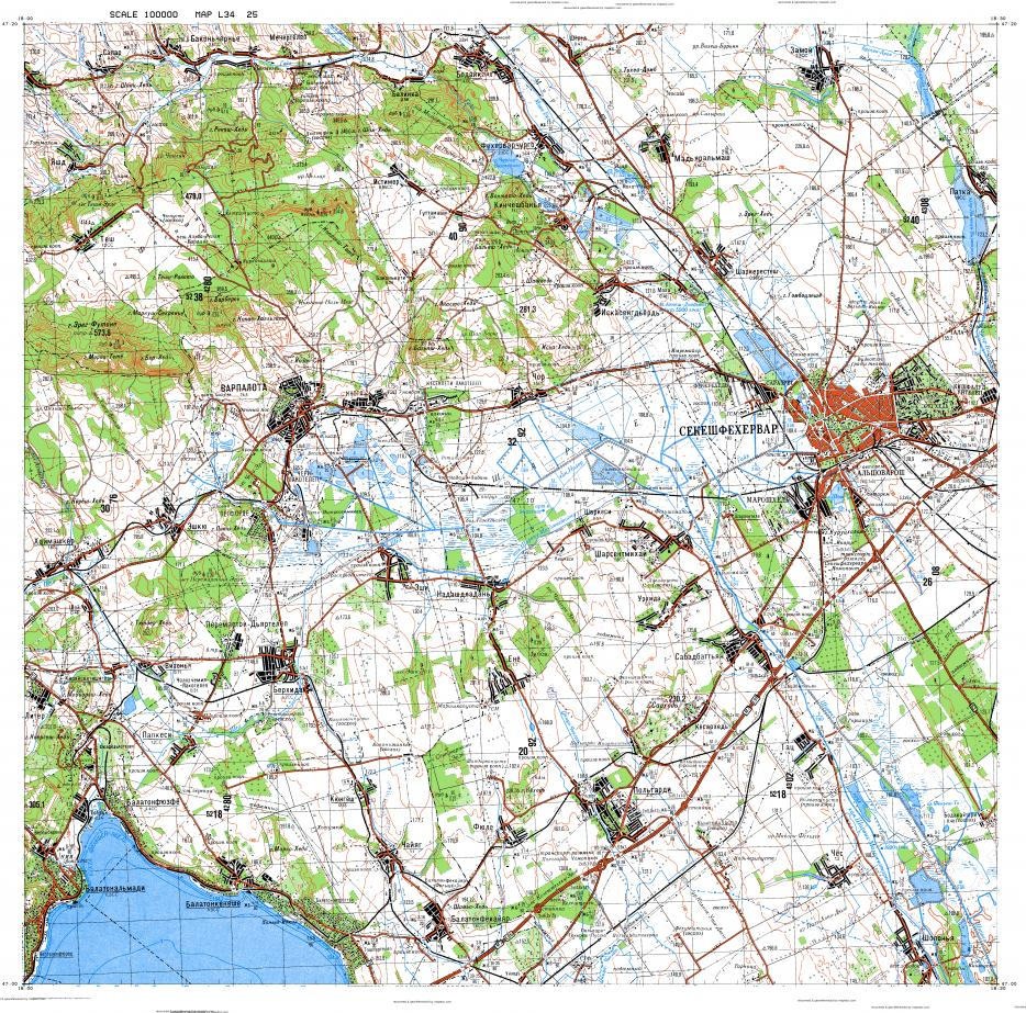 Download topographic map in area of Szekesfehervar Varpalota