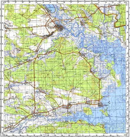 Download topographic map in area of Chernobyl', Oranoye