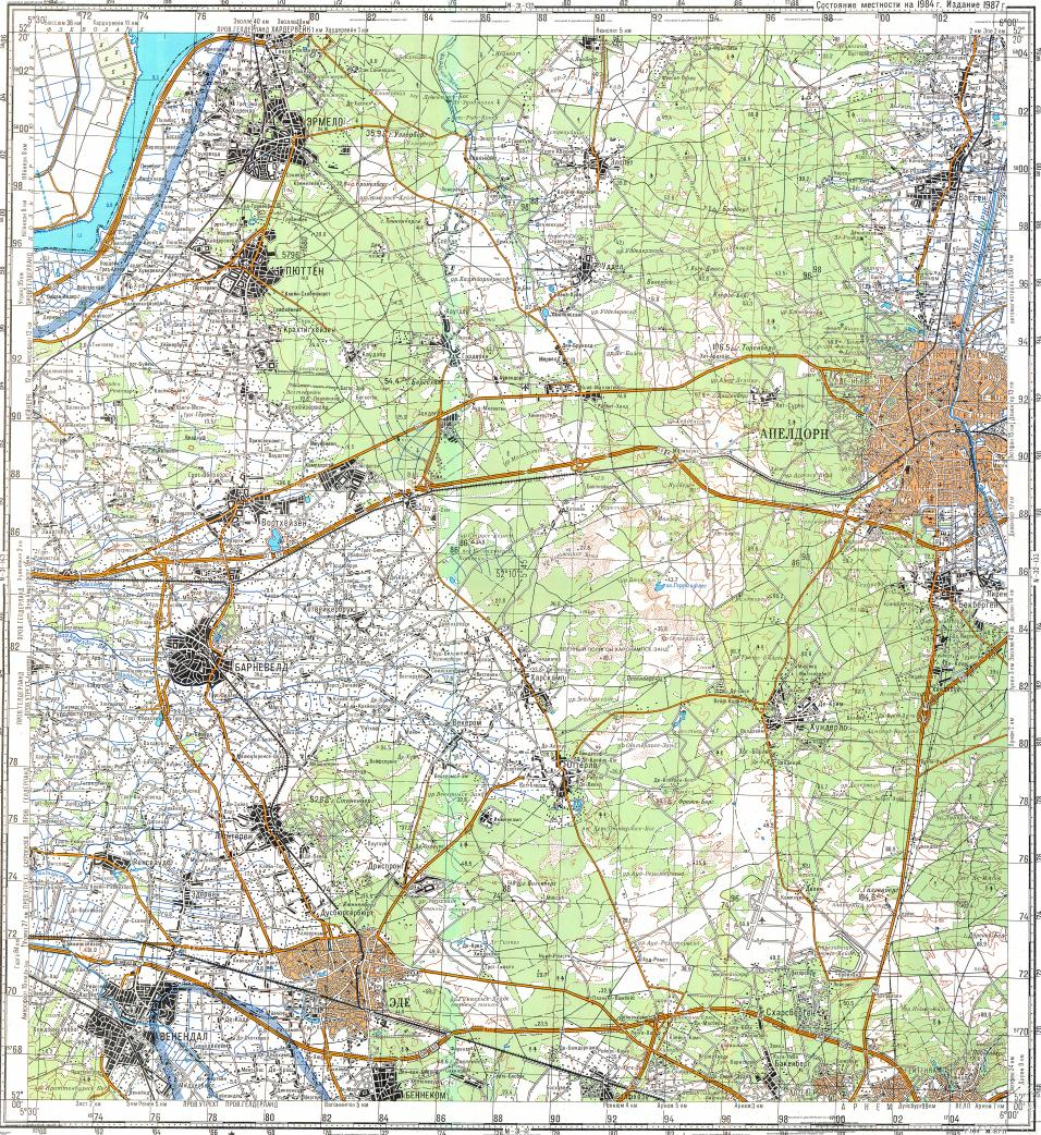 Download topographic map in area of Apeldoorn Ede Veenendaal