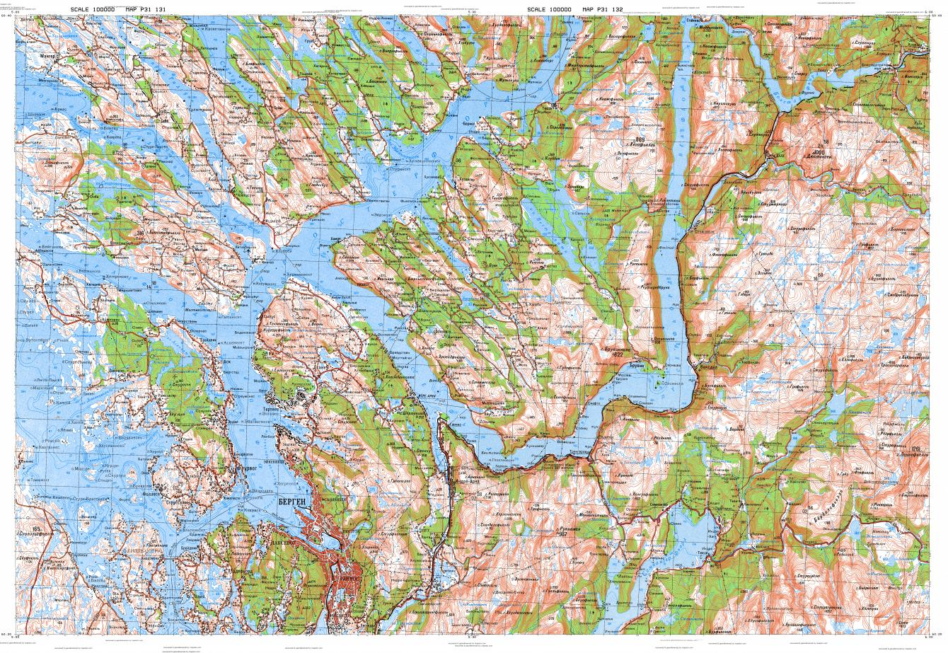 Download Topographic Map In Area Of Bergen Tysse Vaksdal - Norway topographic map