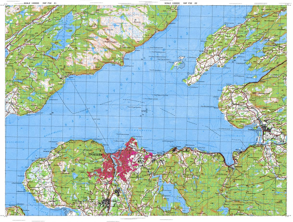 Download topographic map in area of Trondheim Stjordal Brorskift