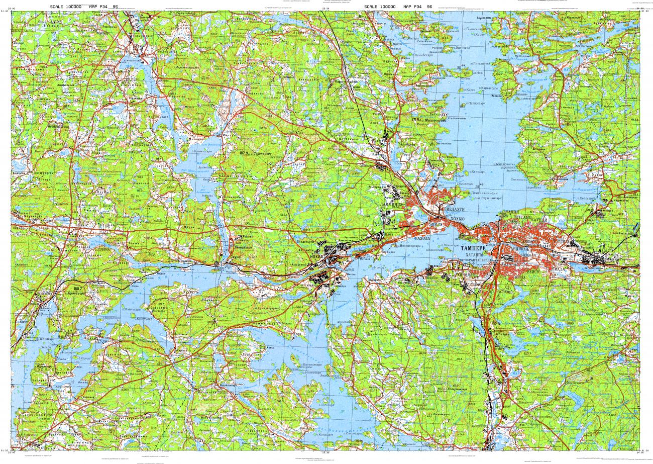 Download topographic map in area of Tampere Nokia Ylojarvi