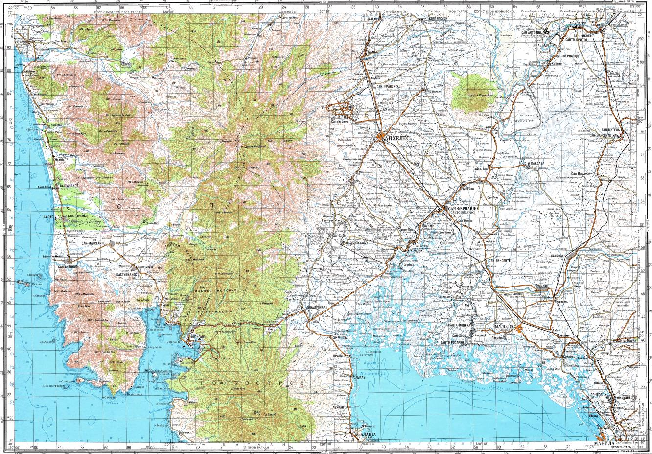 Olongapo Philippines Map.Download Topographic Map In Area Of Angeles Olongapo Sante Fe