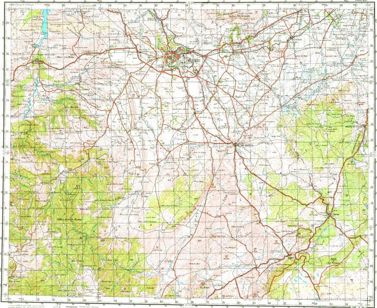 Download topographic map in area of Meknes Imouzzer Du Kandar