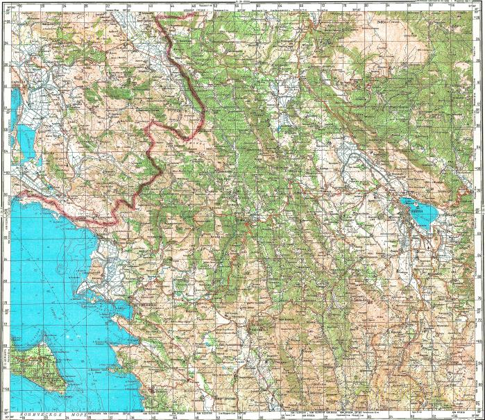 Download topographic map in area of Ioannina Sarande Koutselion