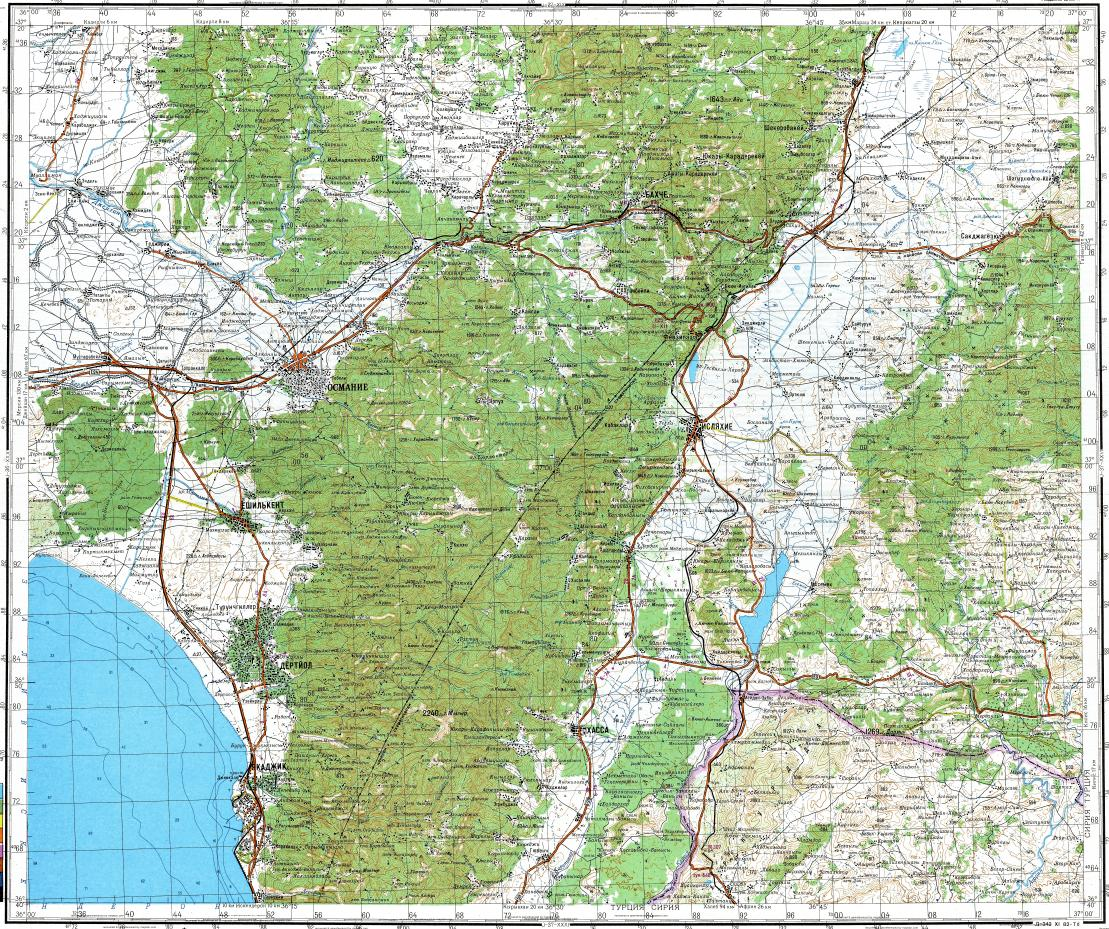 Download topographic map in area of Osmaniye Dortyol Islahiye