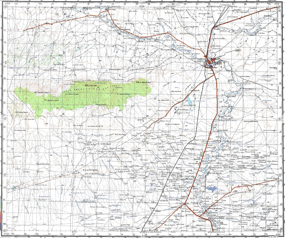 Download topographic map in area of Al Hasakah Ad Dughayrat