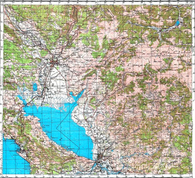 Download topographic map in area of Shkoder Podgorica Bar