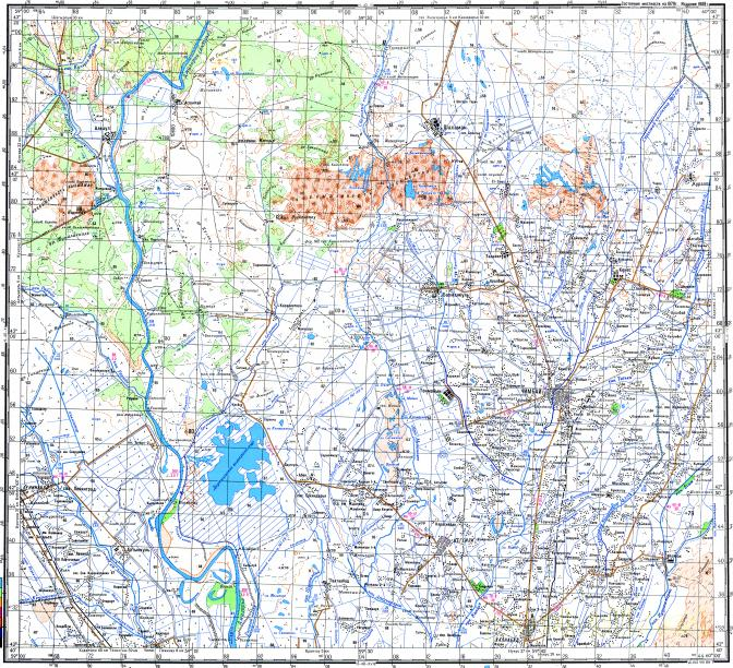 Download topographic map in area of Chimbay Khalkabad Leninabad