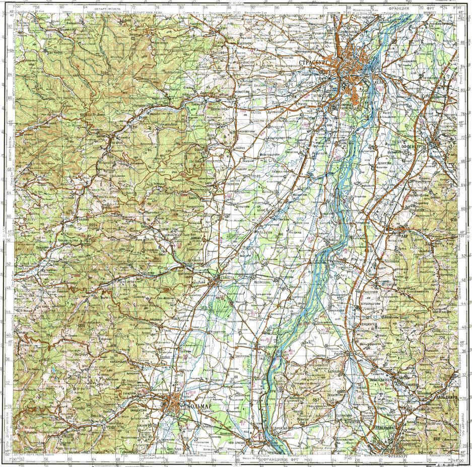 Download topographic map in area of Strasbourg Colmar Offenburg