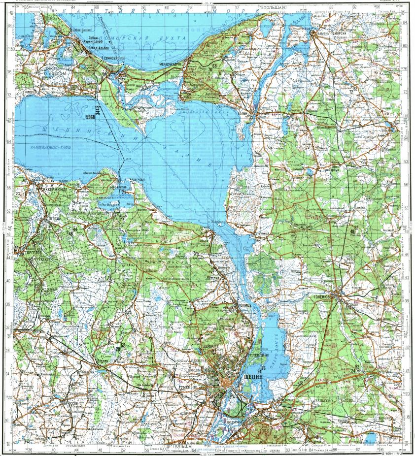 Download topographic map in area of Szczecin Swinoujscie Police