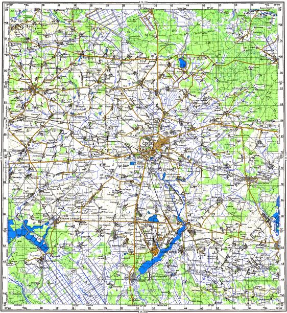 Download topographic map in area of Slutsk Soligorsk Starobin