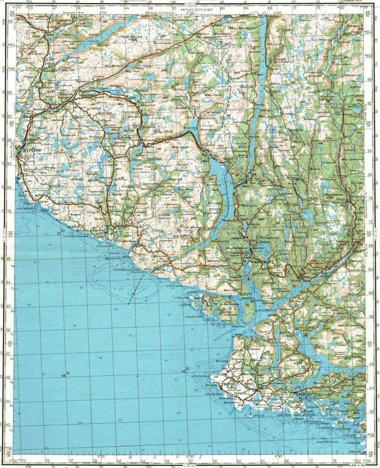 Download topographic map in area of Egersund Flekkefjord Farsund