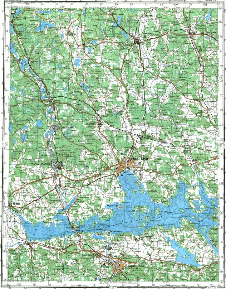 Download topographic map in area of Eskilstuna Vasteras Koping