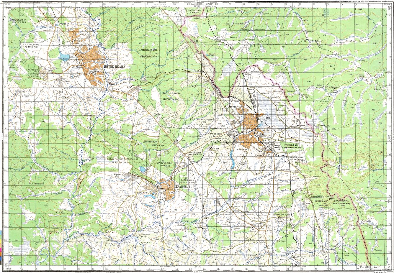Download topographic map in area of Ndola Kitwe Kalulushi