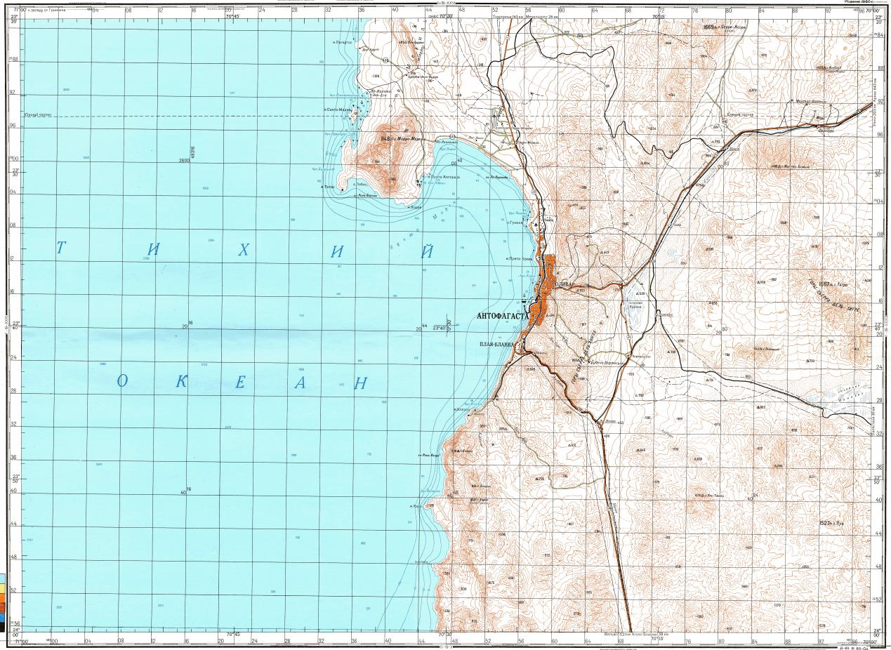 Download topographic map in area of Antofagasta Cerro Moreno