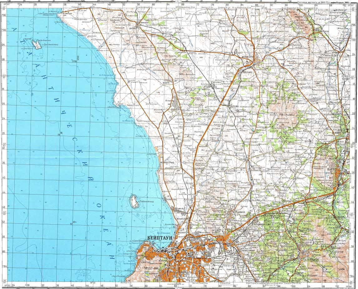 Download topographic map in area of Cape Town Nyanga Paarl