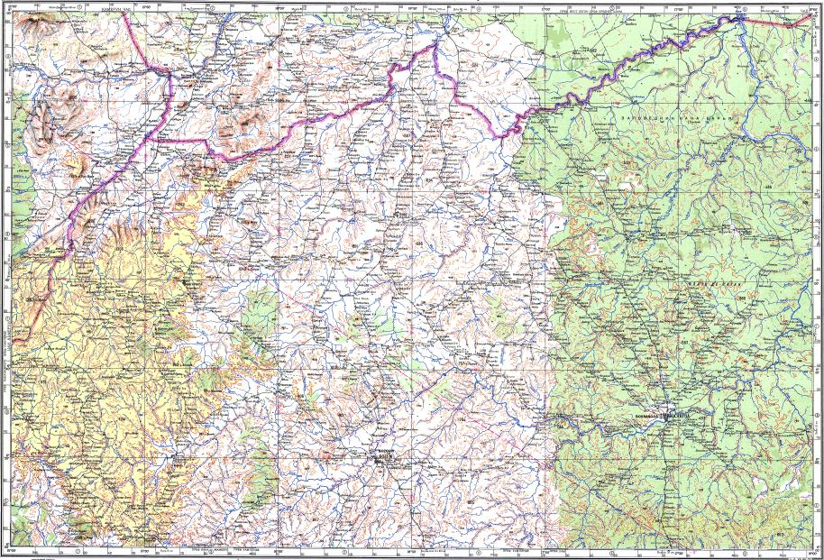 Download topographic map in area of Bossangoa Bocaranga Boyaban