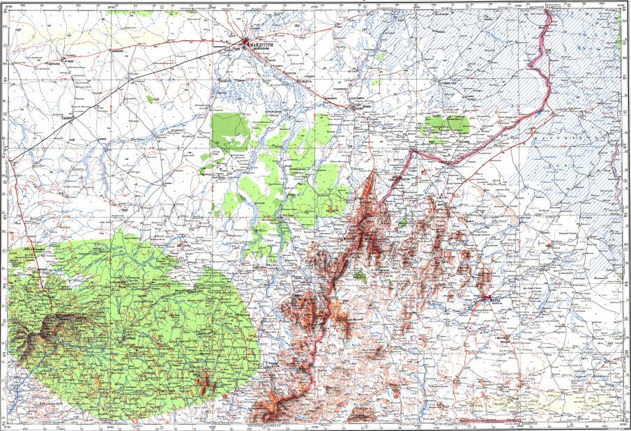 Download topographic map in area of Maiduguri Maroua Hong