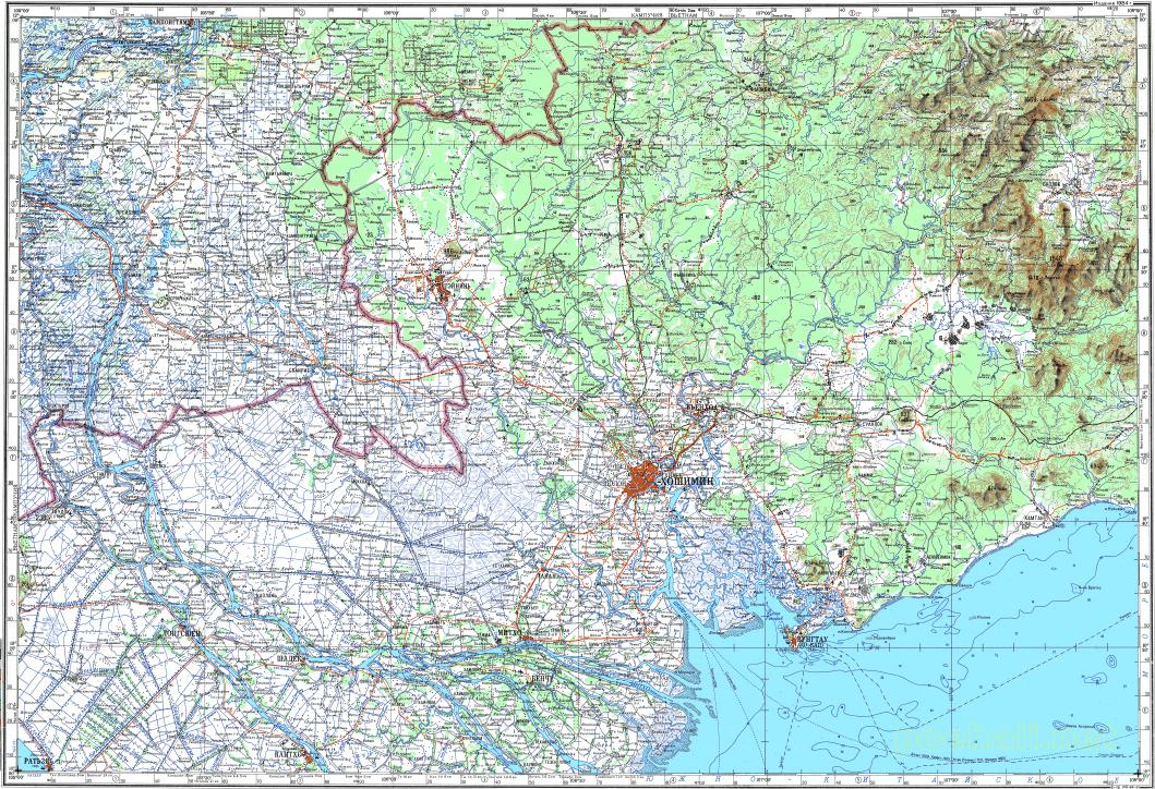 Download topographic map in area of Ho Chi Minh City Can Tho Bien