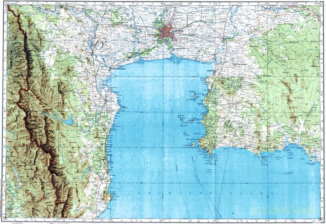 Download topographic map in area of Bangkok, Nonthaburi, Ban ... on