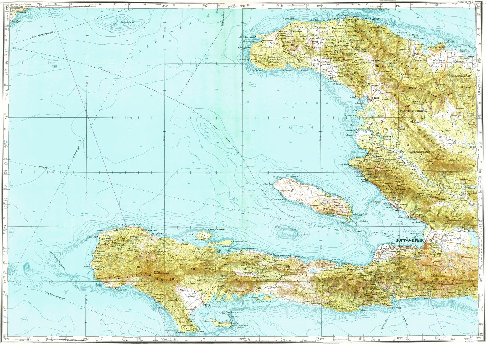 Download topographic map in area of Portauprince Caphaitien Les