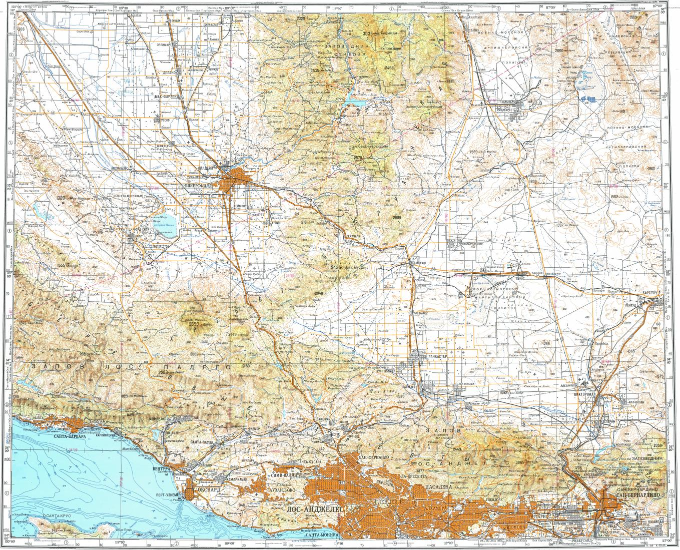 Download Topographic Map In Area Of Los Angeles Bakersfield - Los angeles map download