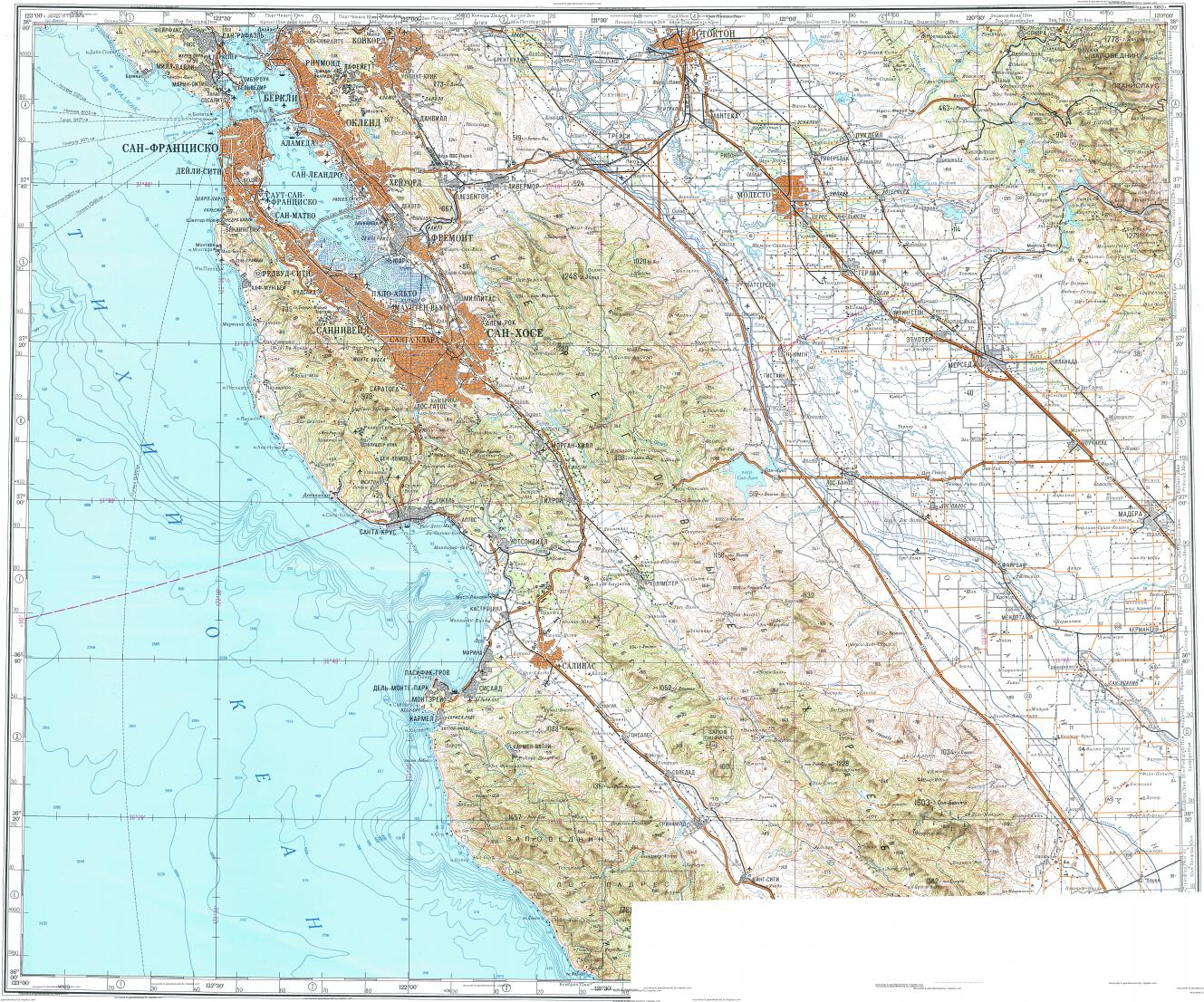 Download topographic map in area of San Francisco Oakland San
