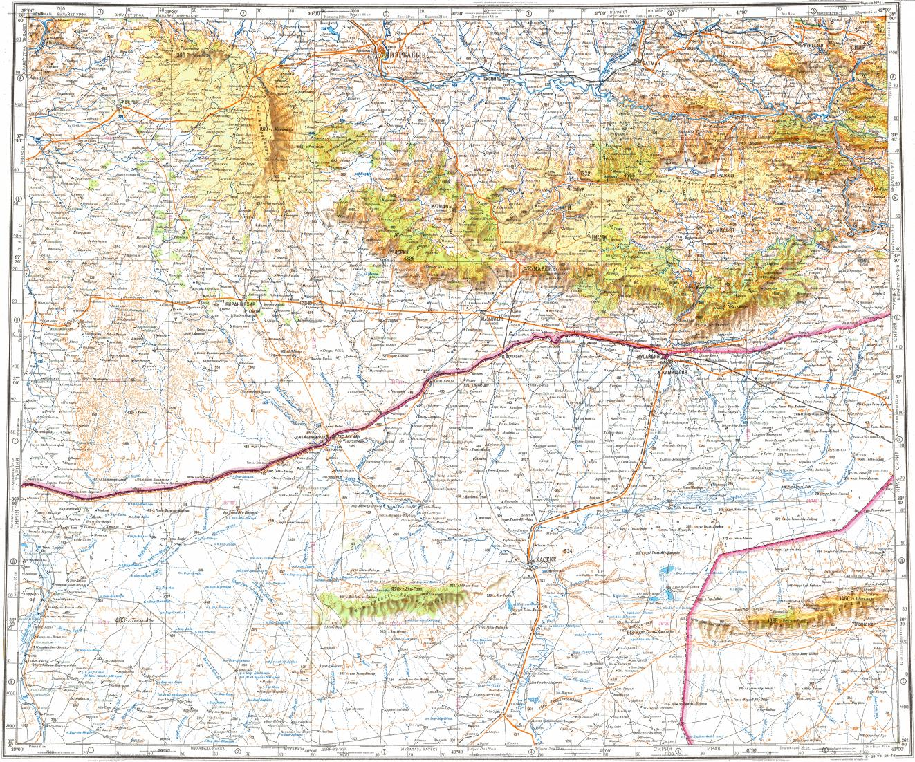 Download topographic map in area of Diyarbakir Al Hasakah Al