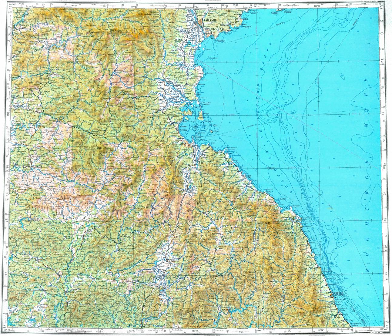 Download topographic map in area of Wonsan Hungnam Hamhung