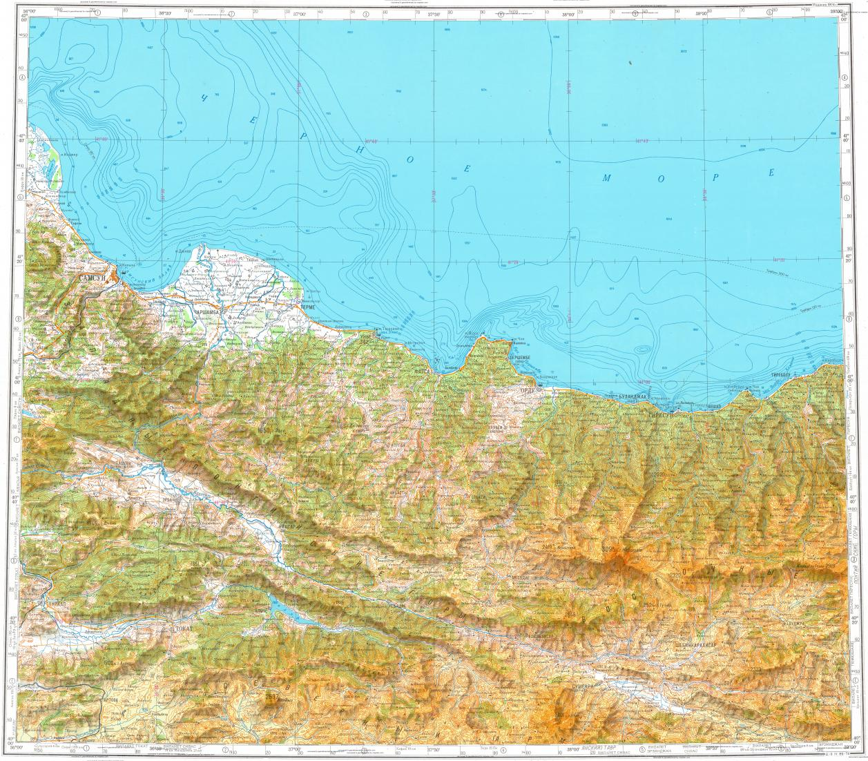 Download topographic map in area of Samsun Giresun Ordu mapstorcom