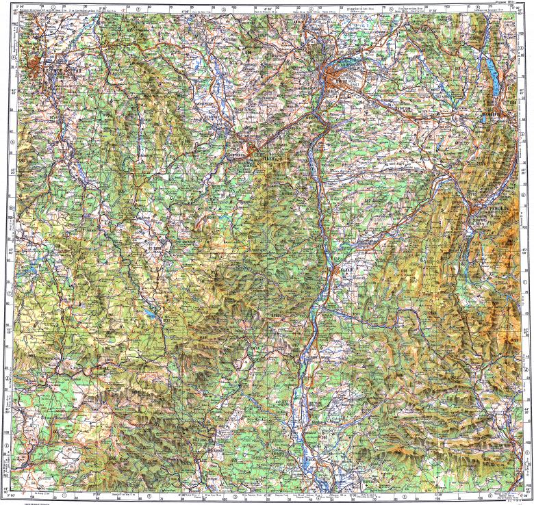 Download topographic map in area of Lyon Saintetienne Grenoble