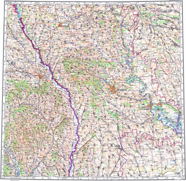 Download topographic map in area of Kishinev Iasi Beltsy