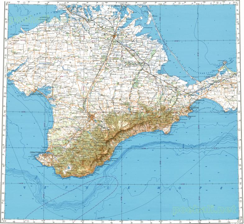 Download topographic map in area of Sevastopol Simferopol