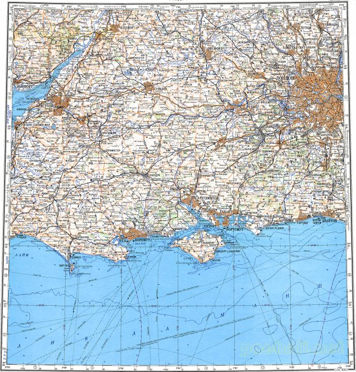 Topographic Map London.Download Topographic Map In Area Of London Bristol Southampton
