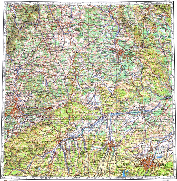 reduced fragment of topographic map ru gs 500k m32