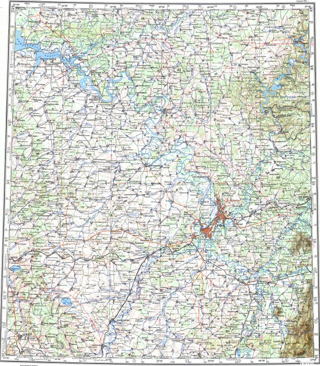 Download topographic map in area of Ufa Belebey Davlekanovo