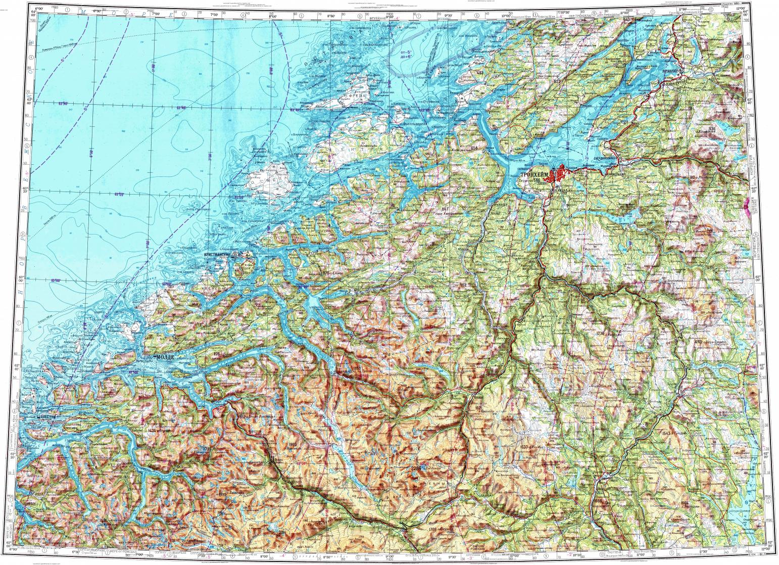 Download topographic map in area of Trondheim Alesund Molde