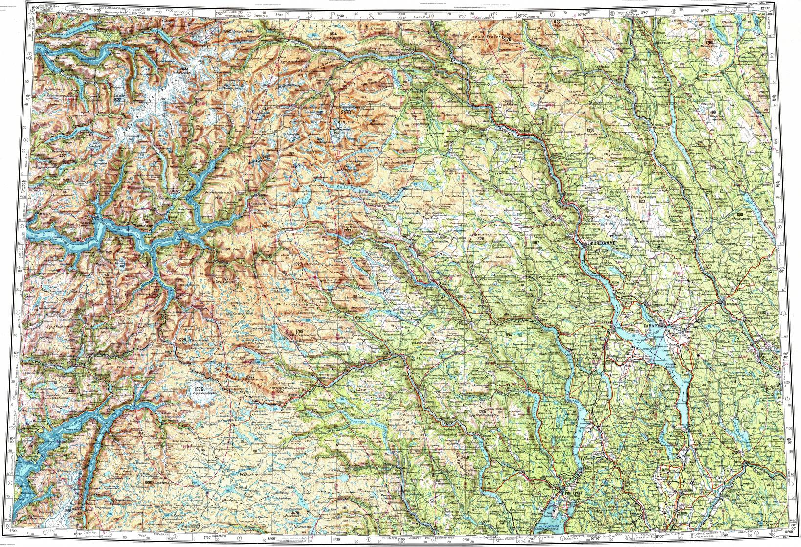 Download topographic map in area of Hamar Gjovik Lillehammer